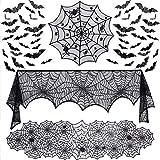 Evance Ensemble de 51 décorations d'halloween, Nappe de Dentelle Ronde, Toile d'araignée Noire, écharpe de cheminée et 48 Morceaux de Sticker Mural 3D Chauves-Souris (51 pièces)