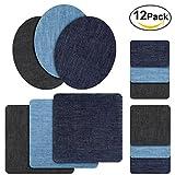 Patches zum aufbügeln, Rymall 12 Stück 6 Farben Denim Baumwolle Patches Bügeleisen Reparatursatz, Aufbügelflicken Bügelflicken, 4 Größen