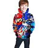 guoweiweiB Sudadera Juvenil con Capucha Mario and Sonic Unisex Kids 3D Hoodie for Boys Hooded with Pockets