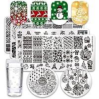Nacido Pretty Nail Art Stamping Plate Set Manicura Herramienta de impresión del árbol de Navidad Copos de nieve con 1pc Jelly estampador