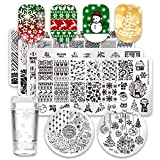 Born Pretty Nail Art Stamping Plate Set Christmas Theme Snowflakes Tree Manicure Print Tool with 1Pc Jelly Stamper