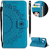 Huawei P20 Lite Hülle,Huawei P20 Lite Leather Handyhülle,WIWJ Wallet Case[Impressum Totem Leder Case]Schutzhüllen für Huawei P20 Lite-Blau