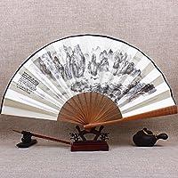 Pliant Fan/Fan Chine Antique Ventilateur pliant pour hommes/10 pouces/soie Big Bang fan classique sculpture artisanat cadeau pliage fan tissu,13 pouces au sud du Yunnan paysage