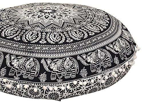 Anjaniya - 81 cm Mandala, Bohemian, Yoga, Meditation, Boho-Kissen für zuhause, Auto, Bett, Sofa, Sitz, großer Reißverschluss, Hippie, dekorative Ottomane, Boho Indische