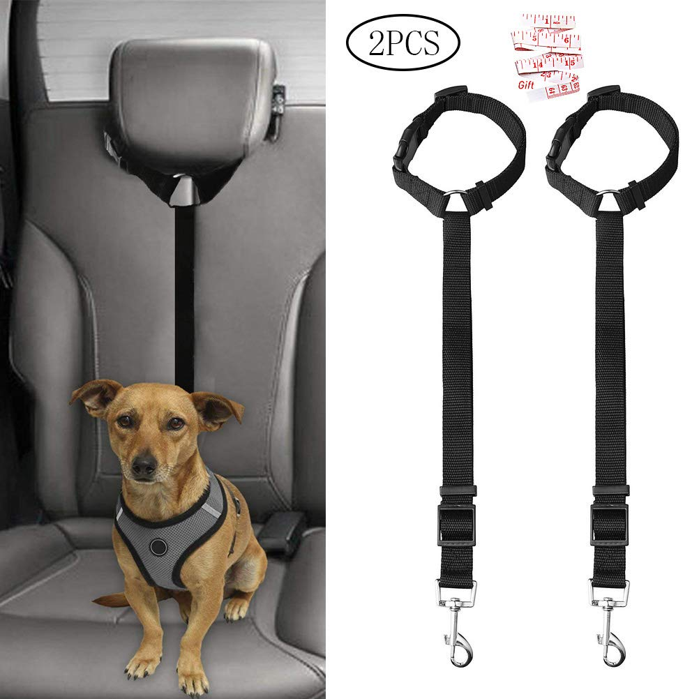Jinkesi 2Pcs Dog Seat Belt, Adjustable Dog Safety Harness Dog Safety Leash Leads for Travel Daily Use (Black)