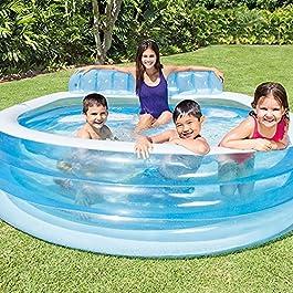 Intex-57190 Piscina Family con Poltrona, Colore Bianca/Azzurro, 224x216x76 cm, 57190
