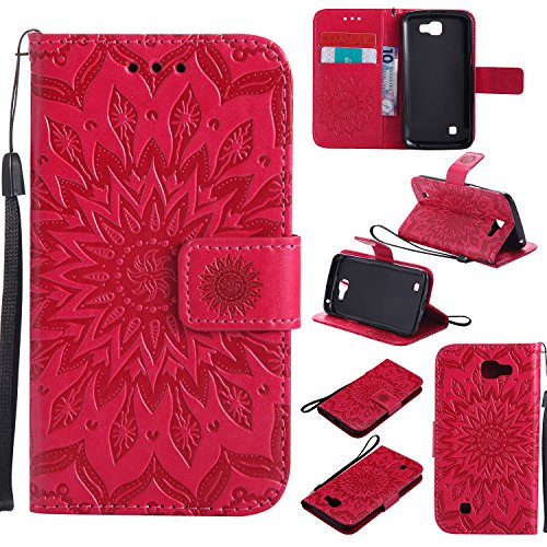 Preisvergleich Produktbild LG K4 Hülle,LG K4 Leder Wallet Tasche Brieftasche Schutzhülle,Cozy Hut® Prägung Sunflower Muster PU Lederhülle Flip Hülle im Bookstyle Cover Schale Stand Ständer Etui Karten Slot Schutzhülle Red Tasche Wallet Case für LG K4 4,5 Zoll - rot