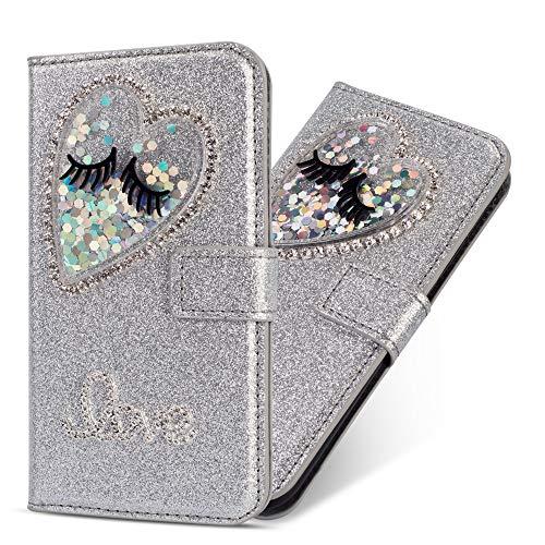 Miagon Hülle Glitzer für Huawei P10 Lite,Luxus Diamant Strass Herz PU Leder Handyhülle Ständer Funktion Schutzhülle Brieftasche Cover für Huawei P10 Lite,Silber