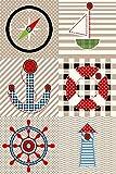 Kinder Teppiche für Kinderzimmer, Babyzimmer, Spielteppich Pirat Motiv kariert, Multi Farben Beige Blau Rot Grün Weiss_0510, Maße:120x170 cm
