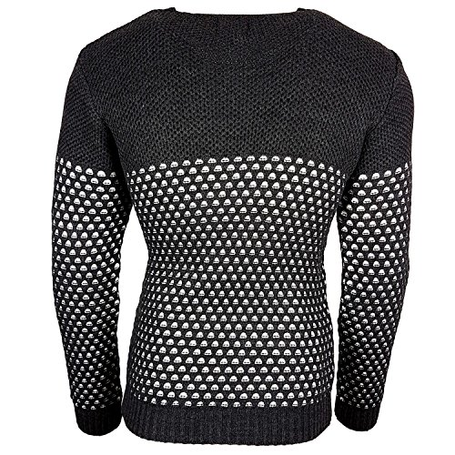 Subliminal Mode - Pull Col arrondi Fin Homme Tricot SB-13248 Petite Maille Gris