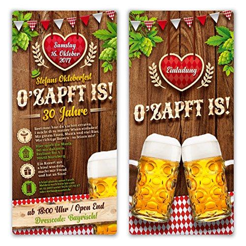 Einladungskarten Oktoberfest Geburtstag (10 Stück) Bayern Einladungen - O\'zapft is! in Rot