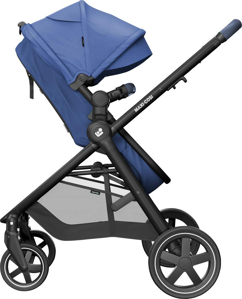 Maxi-Cosi Zelia Baby Pushchair, Lightweight Urban Stroller from Birth, Travel System with Bassinet, 15 kg, Essential Blue Maxi-Cosi Flexible stroller from birth to 3.5 years 2-in-1 seat unit: zelia's seat transforms into a pram bassinet for use from 0 - 12 m in a single movement This city stroller is easy to carry thanks to its lightweight 6