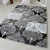 Moderner Designer Teppich mit Kurzflor Versace Muster in Vintage Style Grau Schwarz Weiß Style für Jugendzimmer Wohnzimmer und Schlafzimmer mit Öko-Tex (120 x 170 cm)