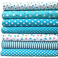 Wuudi Baumwolle blau 7Patchwork Gruppe Uni Tuch Baumwolle klein Floral Nähen Material Vorhang Tuch Manuelle DIY Baumwolle 25* 25cm 7Stück/Sets