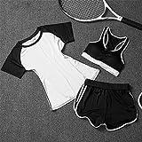 Pirate Lose Yoga Bekleidung Anzüge Damen Running sportswear Kurzarm schnell trocknende Kleidung 3-teilig, weiß, M