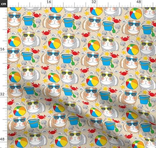 Meerschweinchen, Strand, Muscheln, Krabben, Sonnenbrillen Stoffe - Individuell Bedruckt von Spoonflower - Design von Lilcubby Gedruckt auf Seidenimitat Crêpe de Chine