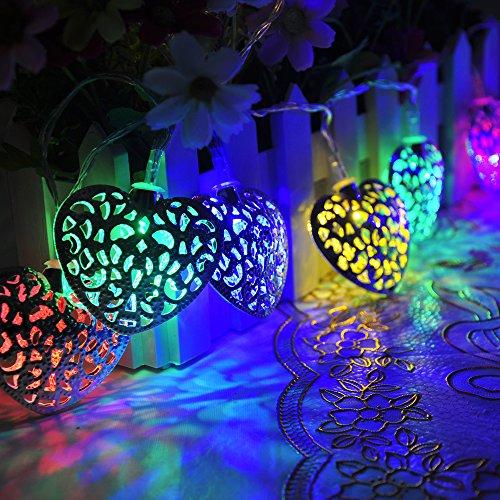 Lychee 2m 6.5FT 20 LED impermeabile batteria a forma di cuore di ferro Wire Operated luci leggiadramente della stringa per Outdoor Wedding dell'interno Garden Home decorazione della festa di Natale (Multicolore) - Fili A Forma Di Cuore