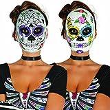 Mexikanische Totenmaske Sugar Skull Maske Motiv Mann La Catrina Todesmaske Halloween Totenkopfmaske Tag der Toten Gesichtsmaske Dia de los Muertos Mexican Skull Calavera