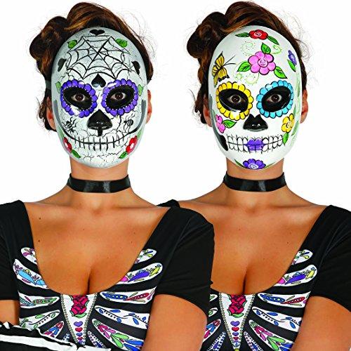 Mexikanische Totenmaske Sugar Skull Maske Motiv Frau La Catrina Todesmaske Halloween Totenkopfmaske Tag der Toten Gesichtsmaske Dia de los Muertos Mexican Skull Calavera