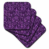3drose violett Shaded William Morris Cherwell (Chintz Blumen – Soft-Untersetzer, Set 4 (CST _ 220210 _ 1)