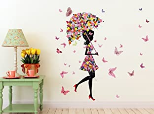 Decals Design 'Floral Umbrella Girl and Butterflies' Wall Sticker (PVC Vinyl, 50 cm x 70 cm x 1 cm)