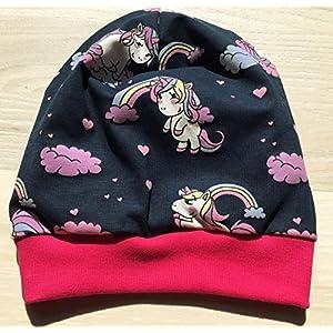Beanie Mütze Einhörner mit Farbwechsel dunkelblau für Kopfumfang 48-53cm