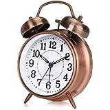 otumixx Klassisk retro väckarklocka tyst icke-tickande tvillingklocka väckarklocka med nattlampa sängbord högt väckarklocka k