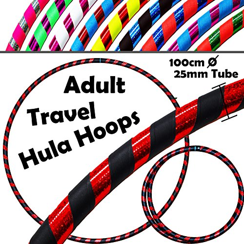 Pro HULA HOOP Reifen für Anfänger und Profis (10 Farben Ultra-Grip/Glitter Deco) Faltbarer TRAVEL Hula Hoop ideal für Hoop Dance! - Größe 100cm, Gewicht 650g (Schwarz / Rot Glitter 100cm/25mm)