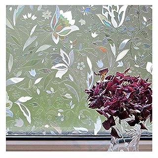 Aojia Fensterfolie Selbsthaftend 3D Tulpen Statisch Dekorfolie Sichtschutzfolie Anti-UV Fensteraufkleber Privatsphäre Schutz Fenster Folie für Heim Kueche Buero 45x200cm