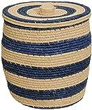 Bast Wäschekorb mit Streifen Muster - Handarbeit / Großer Wäschesammler Allzweck Korb zur Aufbewahrung (Blau, klein)