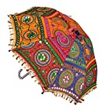 SUNJES Rajasthani Hand Embroidery Work Decorative Beautiful Travel Umbrella For Ladies 21 x 24 Inches