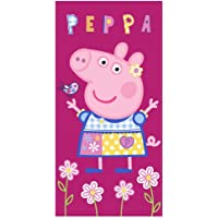 Carbotex Peppa Wutz Badetuch Mädchen Handtuch Strandtuch Duschtuch 70x140 Baumwolle Peppa Pig Kinder Badehandtuch pink