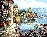 Diy Ölfarbe durch Anzahl Kit, Malerei Malerarbeiten Harbour Village Wall Art Bild Zeichnung mit Pinsel 16 * 20 Zoll Weihnachten Dekor Dekorationen Geschenke (mit Rahmen)