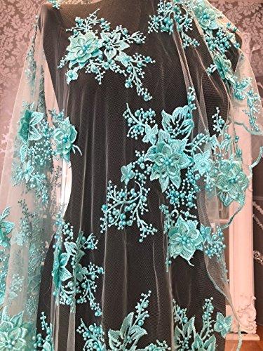 Spitzenstoff für Brautschmuck/Hochzeitskleid, schwerer Perlenbesatz, Netzstoff mit 3D-Blumen mit...