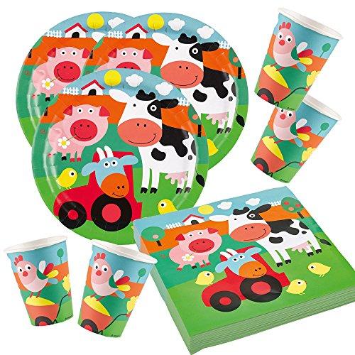 52-teiliges Party-Set Farm Fun - Bauernhof - Tiere - Teller Becher Servietten für 16 Kinder