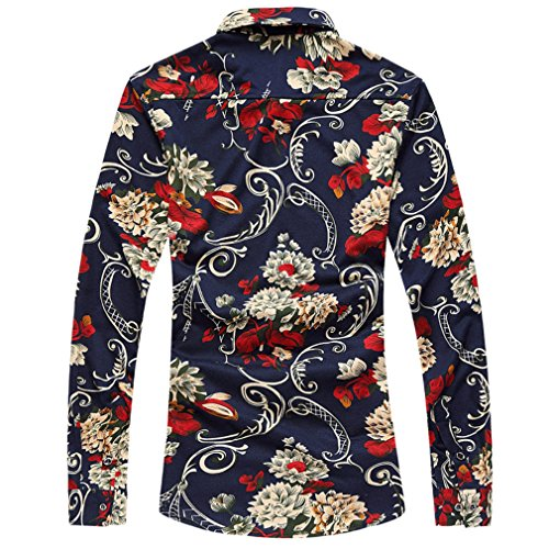 Honghu Herren Casual Slim Fit Stretch Langarm Hemden Button-down Drucken Printing Freizeithemd Rot