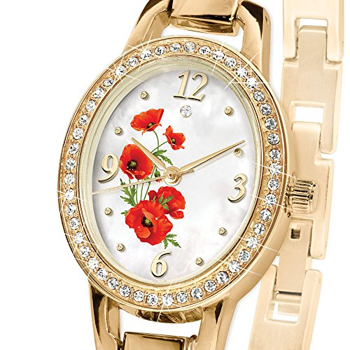 'Lest We Forget' Diamond Poppy Charm Watch By The Bradford Exchange