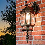 Nostalgische Außenlampe Wandleuchte Brest in antik hängend IP23 E27 60W Außenleuchte Wandlampe für Hof Garten