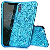 Slynmax Coque iPhone X Bleu Coque iPhone 10 Silicone Paillette Strass Brillante Bling Bling Glitter de Luxe Bumper Housse Etui de Protection [Ultra Fin] [Anti Choc] pour Apple iPhone X -Série Glamour