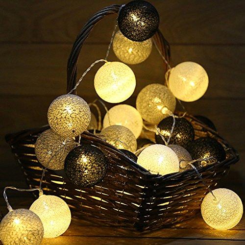 Morbuy Cotton Lichterketten, Wattebausch Lichterketten 6CM Ball Lights LED Lichterkette Festlich Hochzeiten Geburtstag Party 30 Baumwollkugeln LED Batterie Farbe Themen Lichterkette 4.8m (4.8M / 30 Lichter, Kalte Graue Farbe) (Rosa Glühbirnen)