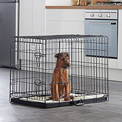 """Milo & Misty 30"""" Folding 2 Door Black Puppy & Dog Pet Crate Cage with Plastic Tray - Medium from eSecure"""