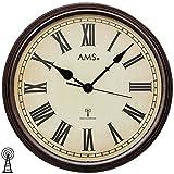 AMS F5977 Funk-Wanduhr, Holz Funkuhr Vintage Retro Wand Uhr Römische Ziffern, 46 x 46 cm
