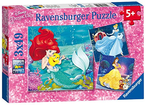 Ravensburger Italy 93502 - Puzzle Le Avventure delle Principesse, 3 X 49 Pezzi, Multicolore