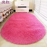 Preciosa alfombra oval felpudo hogar mesa de café salón dormitorio habitaciones alfombradas de cabecera de cama alfombras mantas ,60x160cm, mejor felpa roja