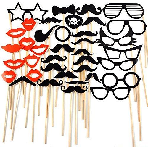 iknowy 38pcs bunt Masken Requisiten auf A Stick Schnurrbart Photo Booth Party Fun Hochzeit Weihnachten Geburtstag Favor