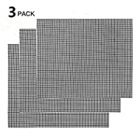 Nifogo BBQ Grill Mesh Mat Set 3 PCS Non Stick Grilling Mesh Reusable Heat Resistant BBQ Teflon Grill Mats for Grilling, Cooking, Baking, Barbecue and Oven, 42 x 36 cm (Grill Mat)