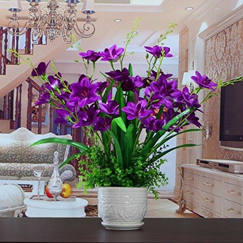 JFWMZyq Künstliche Blume Orchidee Set Dekoration Topfpflanze Lila (Qn-set)