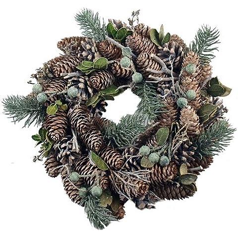 Corona de Navidad para puerta decoración para árbol de Navidad Real piñas de pino y a abeto Artificial
