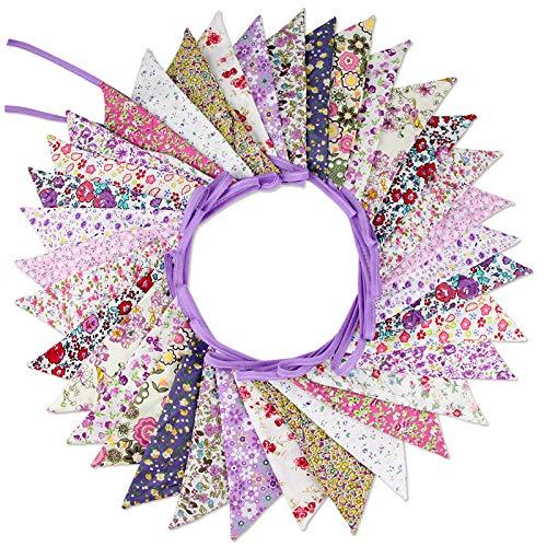 G2PLUS Süße Beidseitig Wimpel Girlande, 10M Bunting Wimpelkette mit 36 STK Farbenfroh Wimpeln für Hochzeits Geburtstag Party (Lila 2)