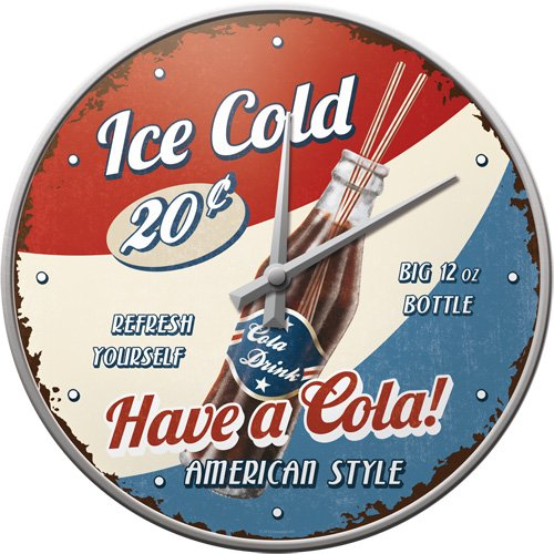 Nostalgic Art 51045 USA Have a Cola, Wanduhr, 31 cm -